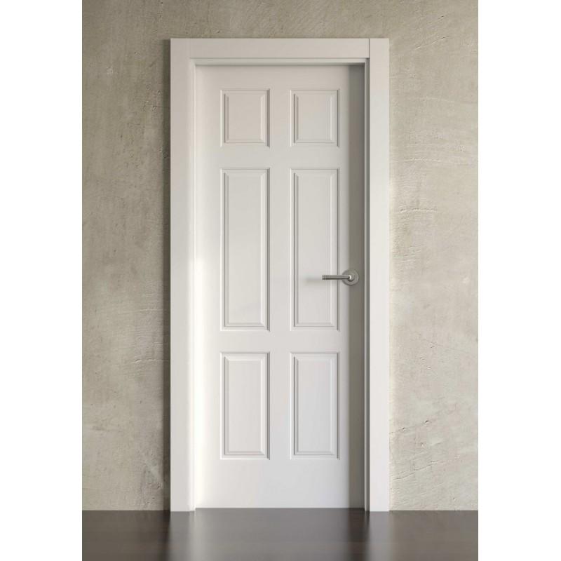 Puerta lacada en blanco simple modelo cl sica 6br - Puerta lacada en blanco ...