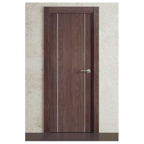 Puerta Vinilo 2D Block G1006 Noyer con Greca Plata